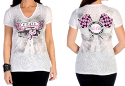Women's Flying Route 66 V-Neck Burnout Top<br/><b>Available in White</b><br/>ITEM # 7324