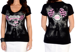 Women's Flying Route 66 V-Neck Top<br/><b>Available in Black</b><br/>ITEM # 7224