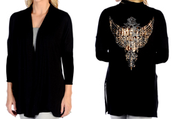 Women's Foil Cross Cardigan with Long Sleeves<br/><b>Available in Black</b><br/>ITEM # 8364