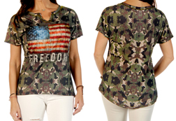 Women's Freedom Camo Loose Fit V-Neck Top<br/><b>Available in Camo</b><br/>ITEM # 7016