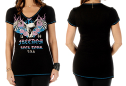 Women's Freedom Rock Tour Short Sleeve Top w/ Contrast Stitching<br/><b>Available in Black</b><br/>ITEM #7043