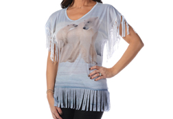 Women's Fringe Polar Bear Top<br/>ITEM # 7877