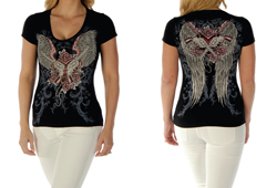 Women's Guns and Wings Black Top<br/><b>Color- Black</b><br/>ITEM# 7162