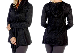 Women's Hacci Cardigan<br/><b>Color- Black</b><br/>ITEM# 8365