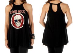 Women's Hard Rock Skull Loose Fit Sleeveless Top<br/><b>Available in Black</b><br/>ITEM # 7532