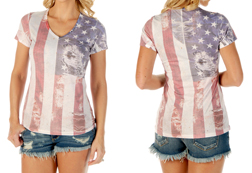Women's Heritage Flag short sleeve v-neck top<br/><b>Available in White</b><br/>ITEM # 7428