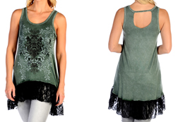 Women's Lacy Laurel Tank Dress w/ Lace Hem<br/><b>Available in Black & Olive</b><br/>ITEM # 7560