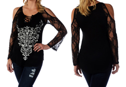 Women's Long Sleeve Bohemian Lace Scrolls Top<br/><b>Available in Black</b><br/>ITEM # 7652