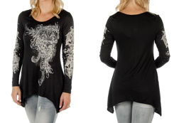 Women's Long Sleeve Fleur De Lis Sharktail<br/><b>Available in Black & Magenta</b><br/>ITEM # 7996