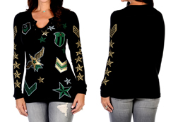 Women's Long Sleeve Gold Star Chevron Top<br/><b>Available in Black</b><br/>ITEM # 7195