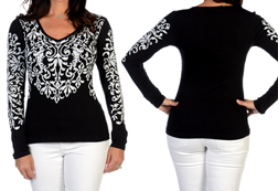 Women's Long Sleeve Ornate Scrolls Top<br/><b>Available in Black</b><br/>ITEM # 7292