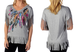 Women's Loose Fit Fringe & Feather Top<br/><b>Available in Black & Heather</b><br/>ITEM # 7868