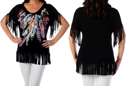 Women's Loose Fit Fringe & Feather Top<br/><b>Available in Black</b><br/>ITEM # 7868