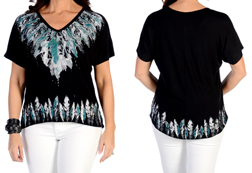 Women's Many Feathers Comfort Tee<br/><b>Available in Black & Heather</b><br/>ITEM # 7838
