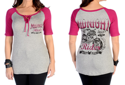 Women's Midnight Rider Lace-up Baseball Tee<br/><b>Available in Heather/Magenta</b><br/>ITEM # 7123