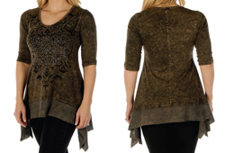 Women's Mineral Wash Ornate Scrolls Sharktail<br/><b>Color- Brown & Grey</b><br/>ITEM# 7924