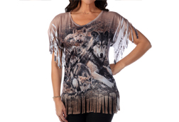 Women's Mother Wolf & Cubs Fringe Top<br/>ITEM # 7878