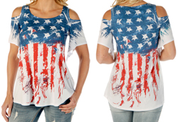 Women's Old Glory short sleeve loose fit cold shoulder top<br/><b>Available in White</b><br/>ITEM # 7667