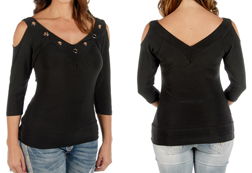 "Women's Open Shoulder Hard Core ""Sasha"" Top <br/><b>Available in Black</b><br/> ITEM # 7695"
