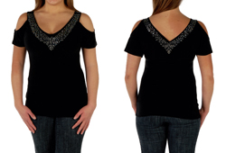 "Women's Open Shoulder  W/Stones ""Sasha"" Shirt<br/><b>Color - Black & Ruby</b>"
