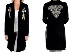 Women's Paisley Split Cardigan<br/><b>Available in Black</b><br/>ITEM # 8362