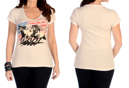 Women's Patriotic Horses Short Sleeve Top<br/><b>Available in Ivory</b><br/>ITEM # 7233