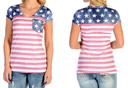 Women's Patriotic Pocket Tee<br/><b>Available in White</b><br/>ITEM # 7422