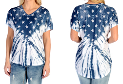 Women's Patriotic Tie-Dye Relaxed Fit Top<br/><b>Available in White</b><br/>ITEM # 7837