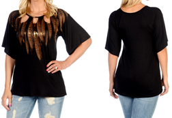 Women's Peekaboo Feathers Top<br/><b>Color- Black</b><br/>ITEM# 7663