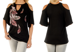 Women's Phoenix Feathers Relaxed Fit Open Shoulder Top<br/><b>Available in Black</b><br/>ITEM # 7673