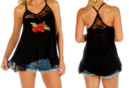 Women's Pretty Roses spaghetti strap top<br/><b>Available in Black</b><br/>ITEM # 7533