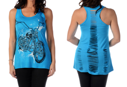 Women's Racerback Laser Cut Tank Top<br/> <b> Colors - Black & Turquoise</b><br/>ITEM# 7548