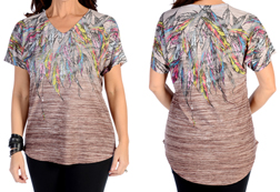 Women's Relaxed Fit Feathers Burnout Top<br/>ITEM # 7836