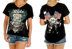 Women's Ride On Goldwing Short Sleeve V-Neck Top<br/><b>Available in Black & Red</b><br/>ITEM # 7021