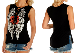 Women's Rock Star Sleeve Lace-Up Top w/ Split Sides<br/><b>Available in Black</b><br/>ITEM #7570