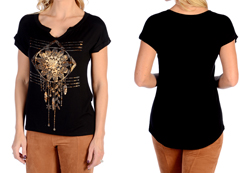 Women's Rolled Sleeve Medallion Dreamcatcher Top<br/><b>Available in Black & Oat</b><br/>ITEM # 7001