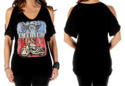Women's Route 66 American  loose fit cold-shoulder top<br/><b>Available in Black & Heather</b><br/>ITEM # 7631