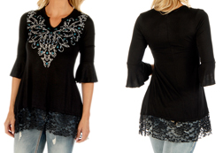 Women's Sapphire Vines Tunic<br/><b>Available in Black</b><br/>ITEM # 7628