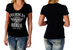 Women's Short Sleeve American Rebel Top<br/><b>Available in Black</b><br/>ITEM # 7135