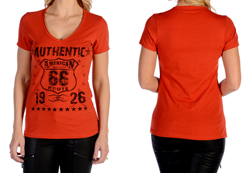 Women's Short Sleeve Authentic Route 66 Top<br/><b>Available in Black & Rust</b><br/>ITEM # 7227