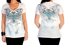 Women's Short Sleeve Celtic Cross & Shield Burnout Top<br/><b>Available in White</b><br/>ITEM # 7322