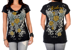 Women's Short Sleeve Cross n' Rose Mineral Wash Short Sleeve Top<br/><b>Available in Grey</b><br/>ITEM # 7751
