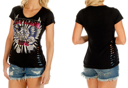 Women's Short Sleeve Devilish Ride V-Neck Top w/ Tied Sides<br/><b>Available in Black & Red</b><br/>ITEM # 7132