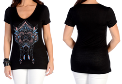Women's Short Sleeve Feathered Dreamcatcher Top<br/><b>Available in Black & Vanilla</b><br/>ITEM # 7188