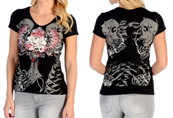 Women's Short Sleeve Freedom Rose Top<br/><b>Available in Black</b><br/>ITEM # 7080