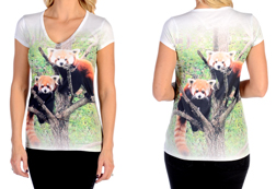 Women's Short Sleeve Red Pandas V-Neck Top<br/><b>Available in White</b><br/>ITEM # 7475