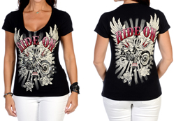 Women's Short Sleeve Ride On Free Two Top<br/><b>Available in Black & Pink</b><br/>ITEM # 7161