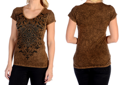 Women's Short Sleeve Vintage Crystals V-Neck Top<br/><b>Available in Brown</b><br/>ITEM # 7724