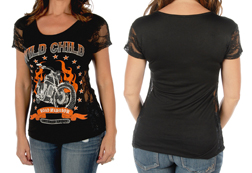 Women's Short Sleeve Wild Child Top<br/><b>Available in Black</b><br/>ITEM # 7055