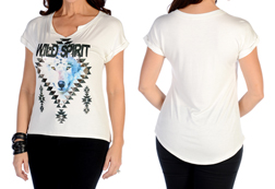 Women's Short Sleeve Wild Spirit Top<br/><b>Available in Ivory</b><br/>ITEM # 7003